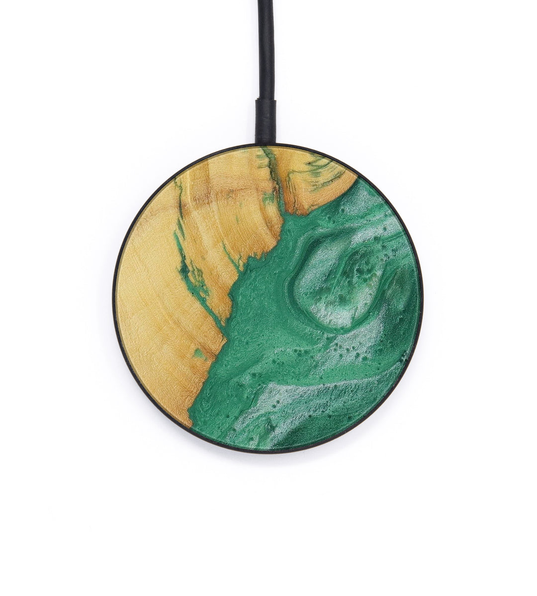 Circle Wood+Resin Wireless Charger - Dynah (Dark Green, 423315)