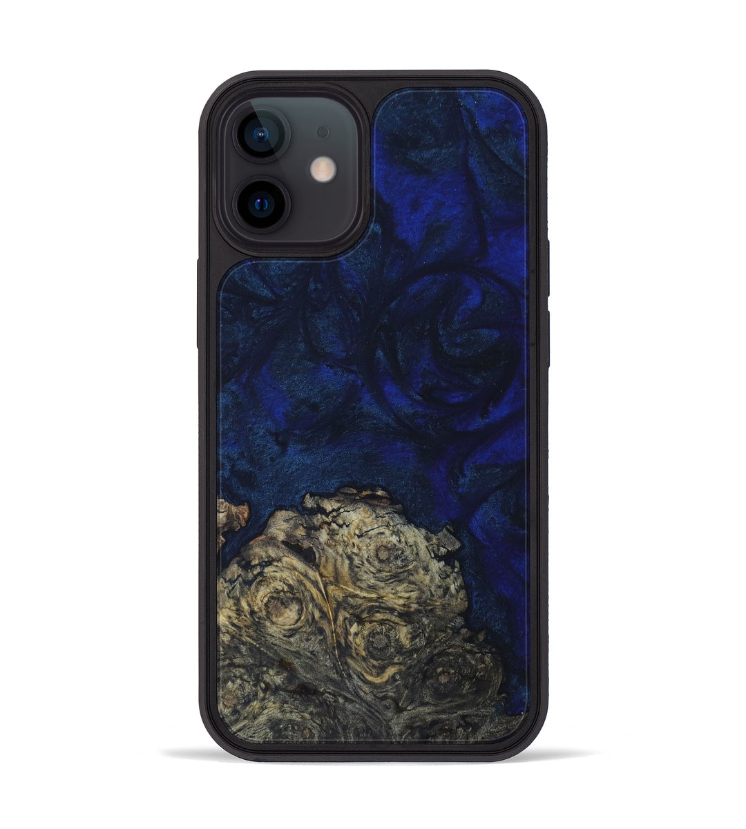 iPhone 12 mini Wood+Resin Phone Case - Leigha (Dark Blue, 397886)