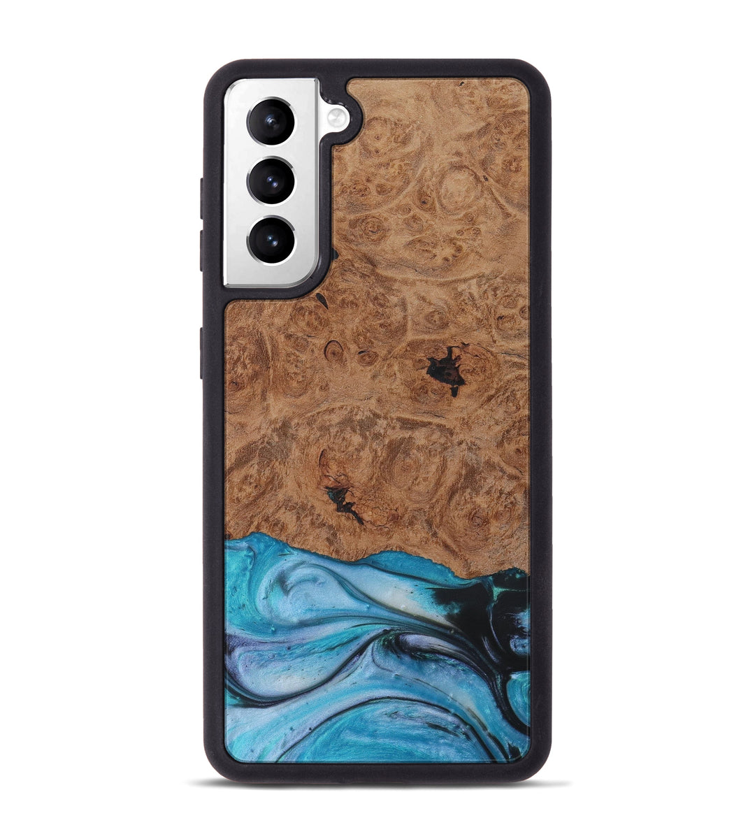 Galaxy S21 Wood+Resin Phone Case - Chlo (Light Blue, 423351)