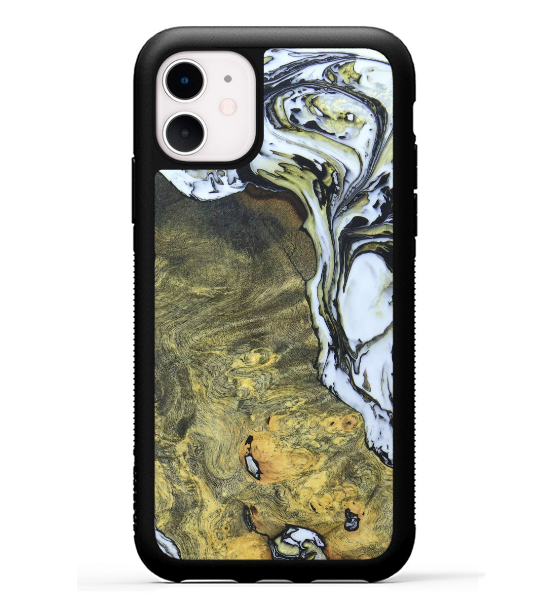 iPhone 11 Wood+Resin Case - Norean (Black & White, 334675)