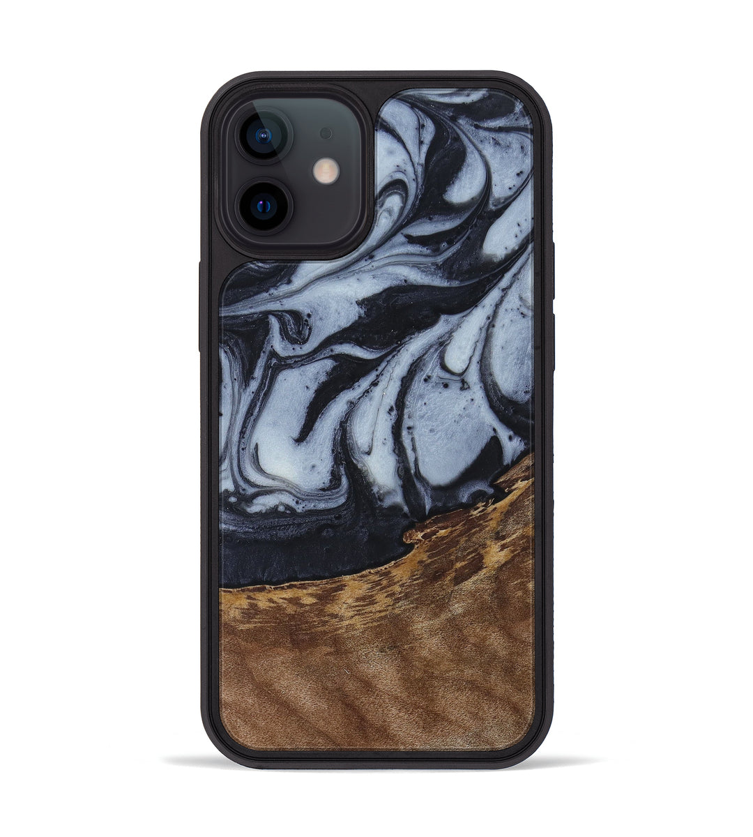 iPhone 12 mini Wood+Resin Phone Case - Richardson (Black & White, 397898)