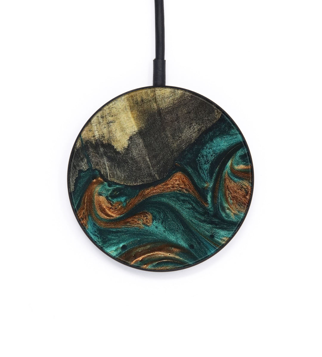 Circle Wood+Resin Wireless Charger - Ealasaid (Teal & Gold, 400099)