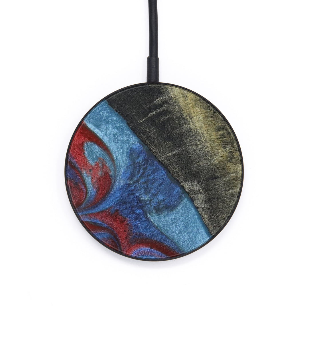 Circle Wood+Resin Wireless Charger - Lanny (Blue & Red, 405624)