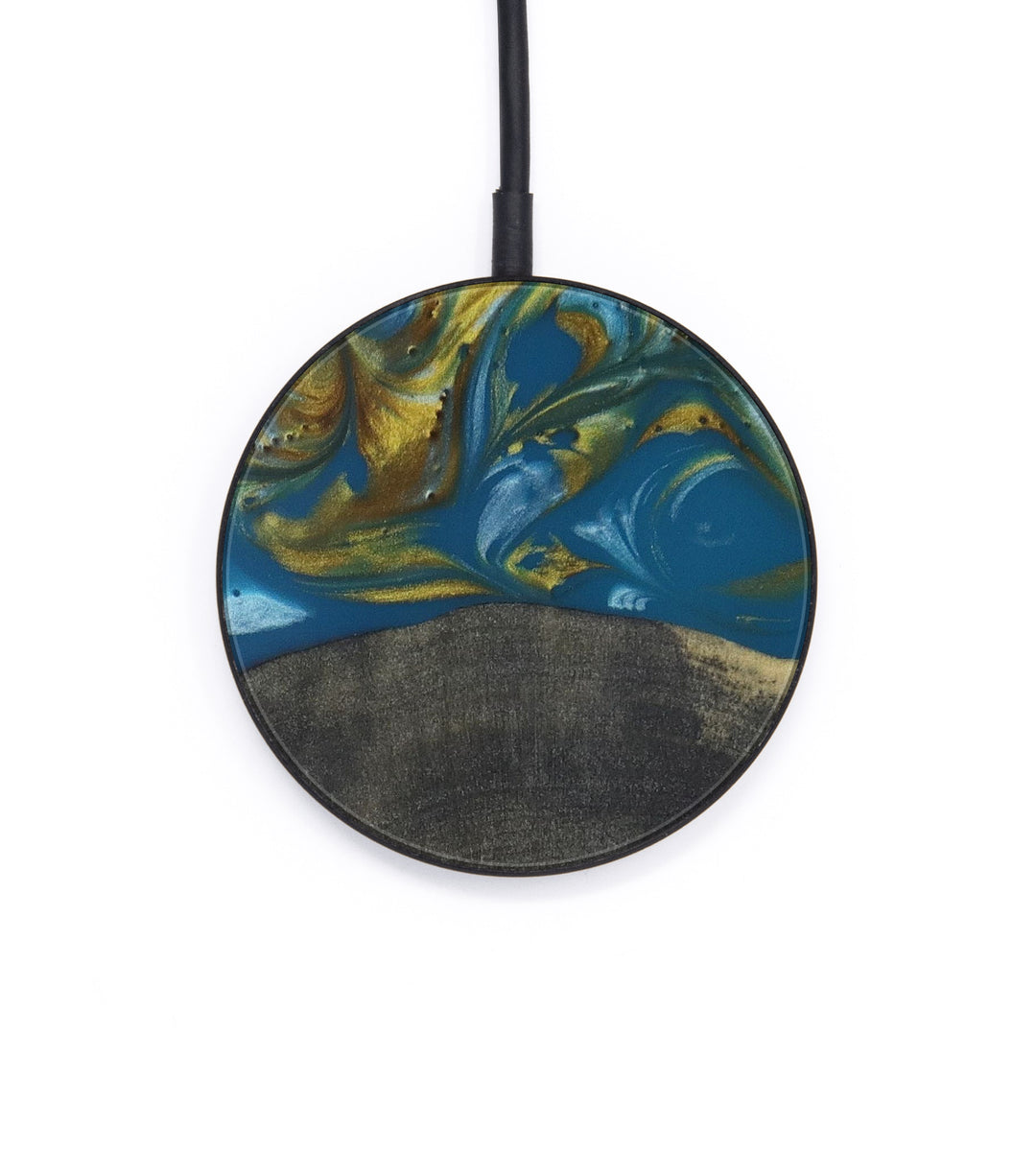 Circle Wood+Resin Wireless Charger - Shiv (Teal & Gold, 406010)