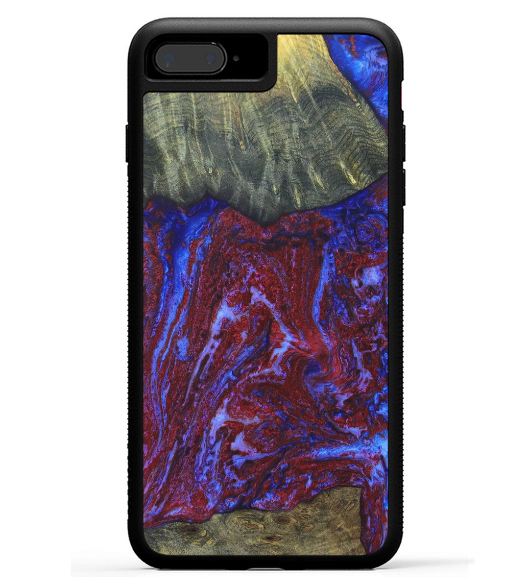 iPhone 8 Plus Wood+Resin Case - Jeralee (Blue & Red, 334399)