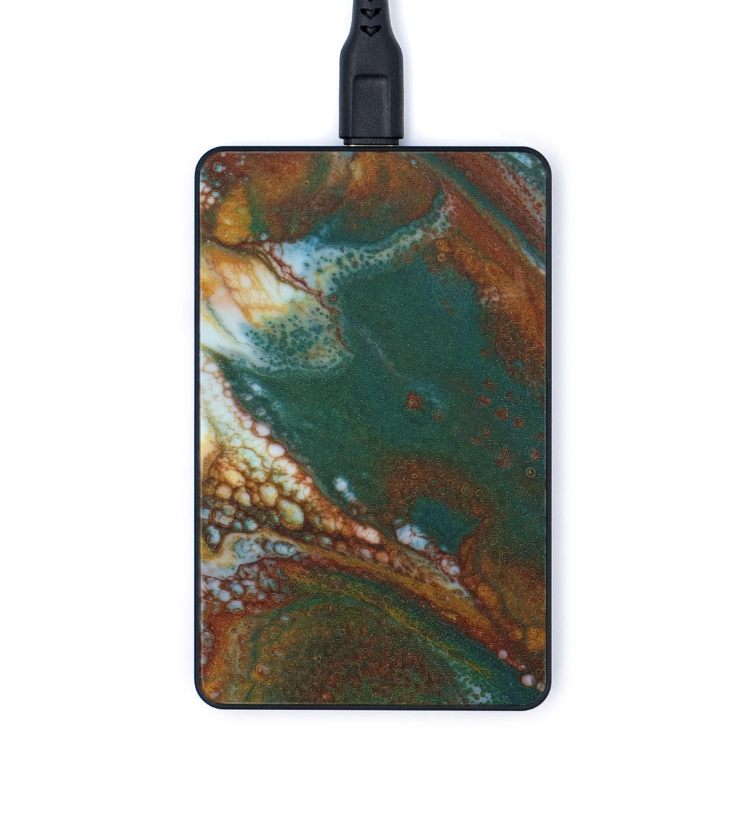 Thin ResinArt Wireless Charger - Violet (Teal & Gold, 347717)
