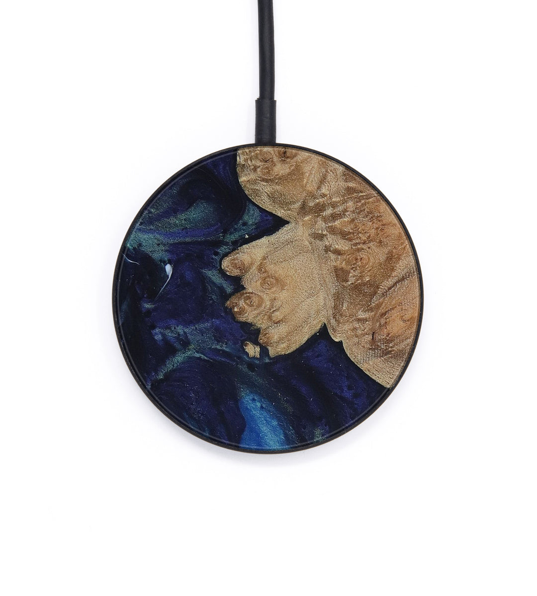 Circle Wood+Resin Wireless Charger - Herminia (Dark Blue, 428298)