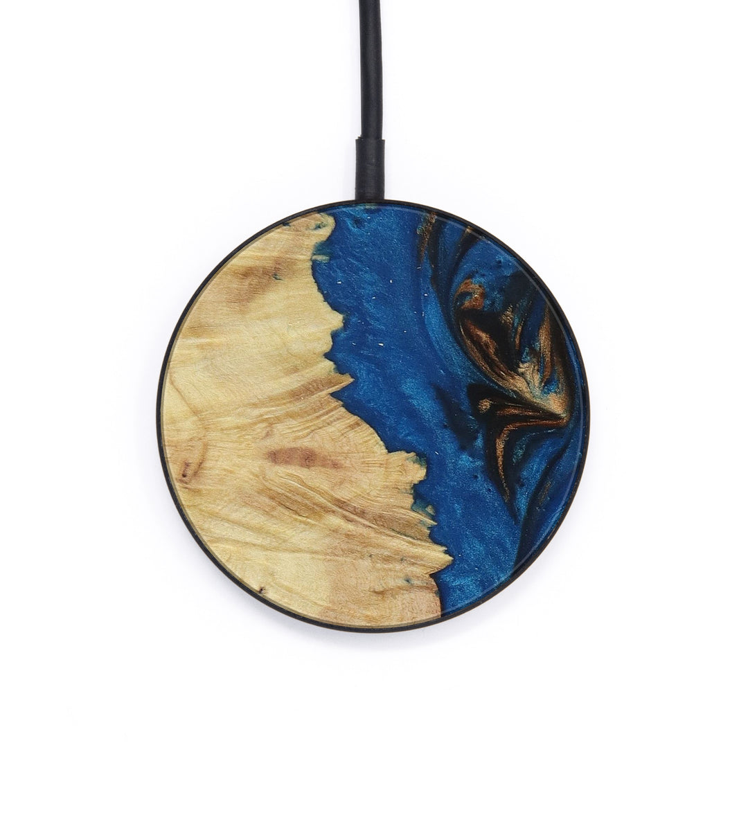 Circle Wood+Resin Wireless Charger - Dita (Teal & Gold, 401594)