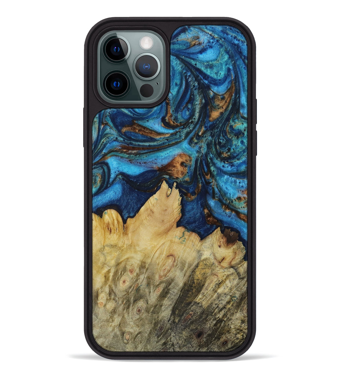 iPhone 12 Pro Wood+Resin Phone Case - Ludovika (Teal & Gold, 396046)