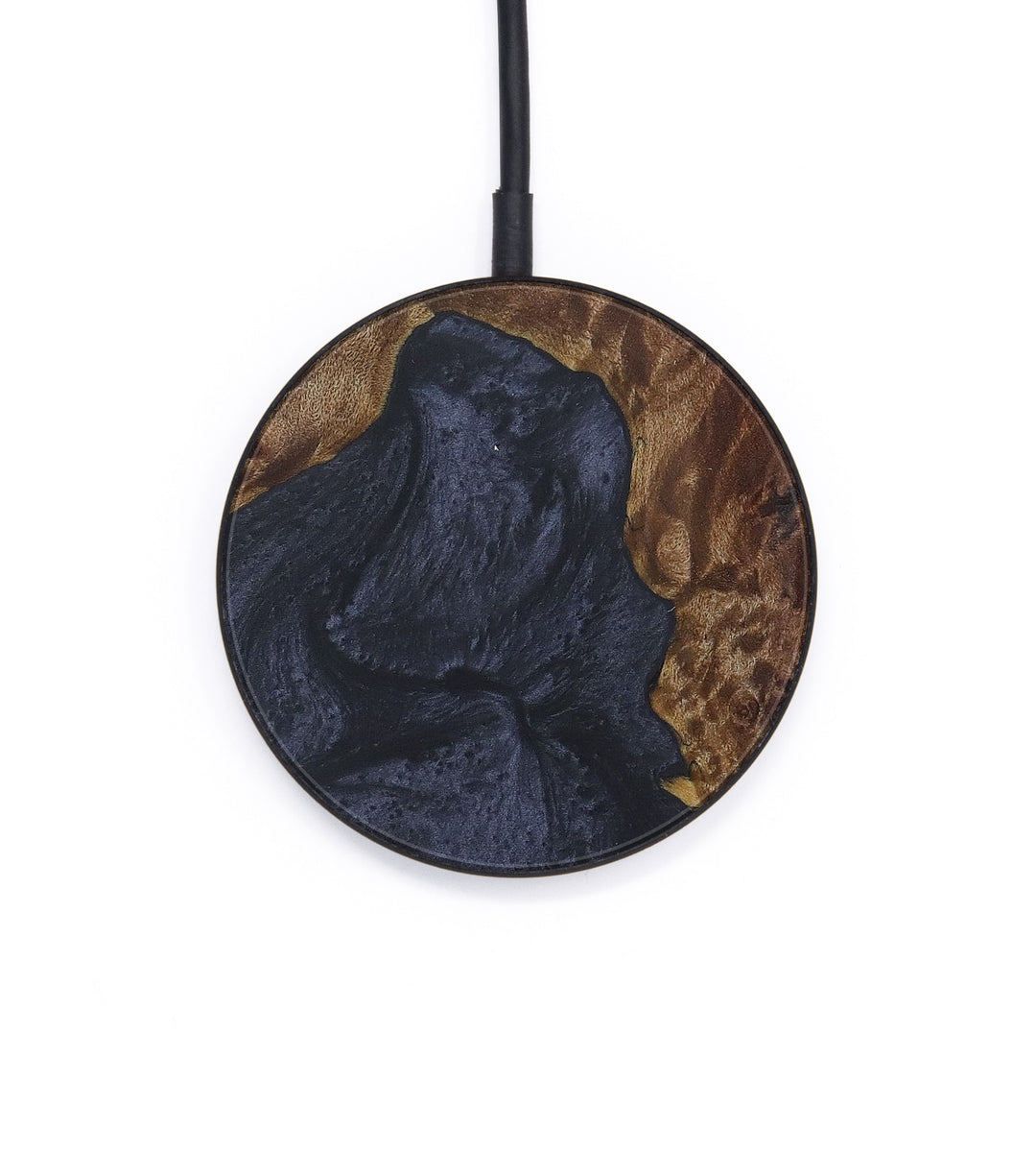 Circle Wood+Resin Wireless Charger - Almeria (Pure Black, 408728)