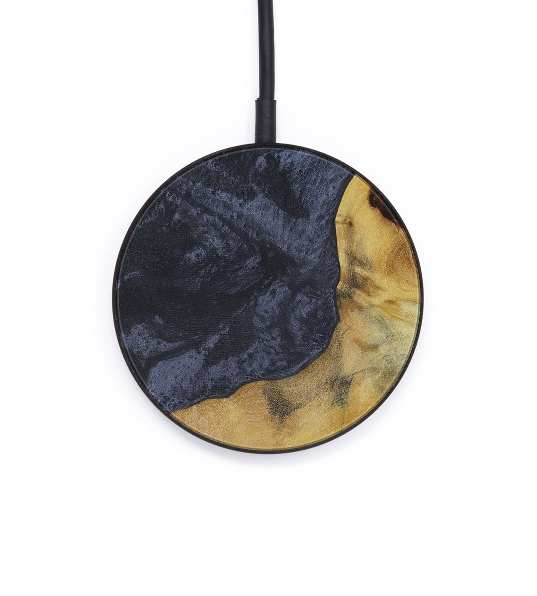 Circle Wood+Resin Wireless Charger - Rajinderpal (Pure Black, 410743)