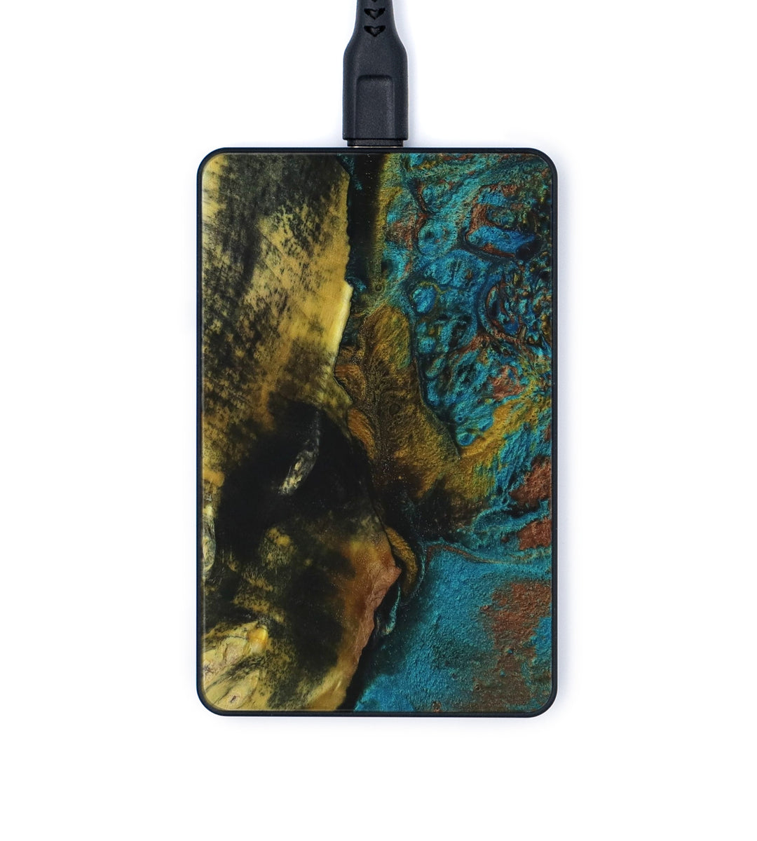 Thin Wood+Resin Wireless Charger - Merdia (Teal & Gold, 347861)