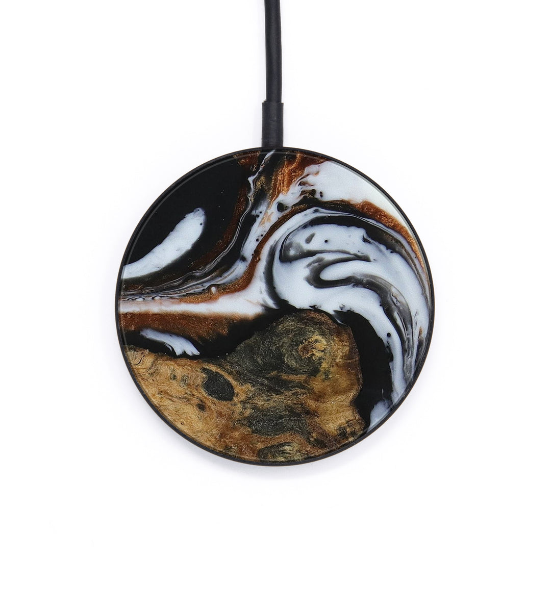 Circle Wood+Resin Wireless Charger - Eden (Black & White, 397479)