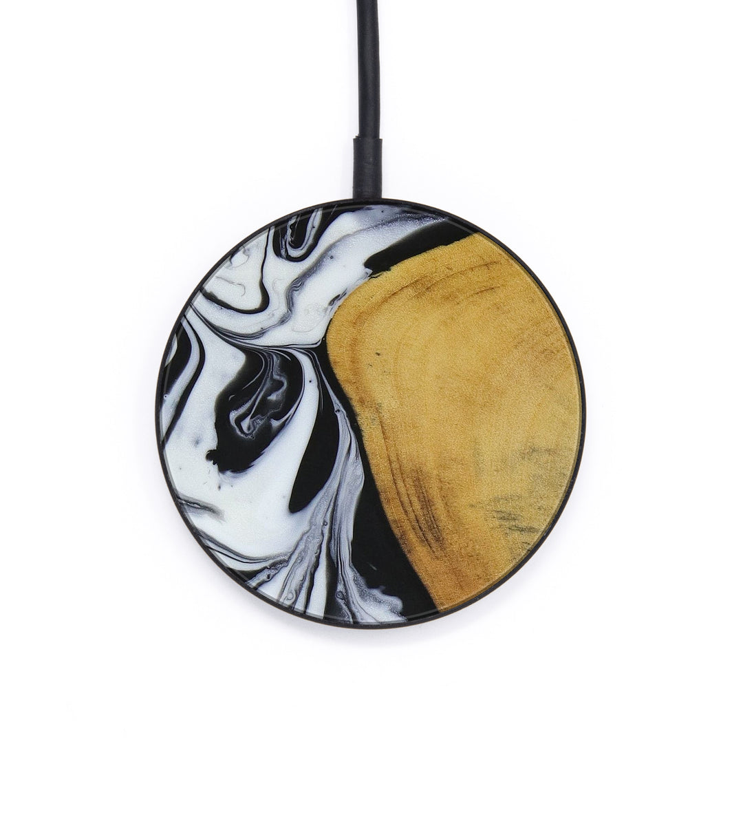 Circle Wood+Resin Wireless Charger - Manda (Black & White, 403904)