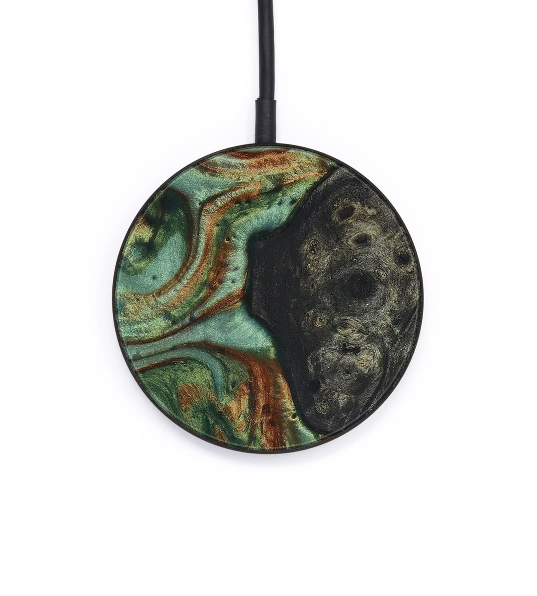 Circle Wood+Resin Wireless Charger - Vahe (Dark Green, 404178)