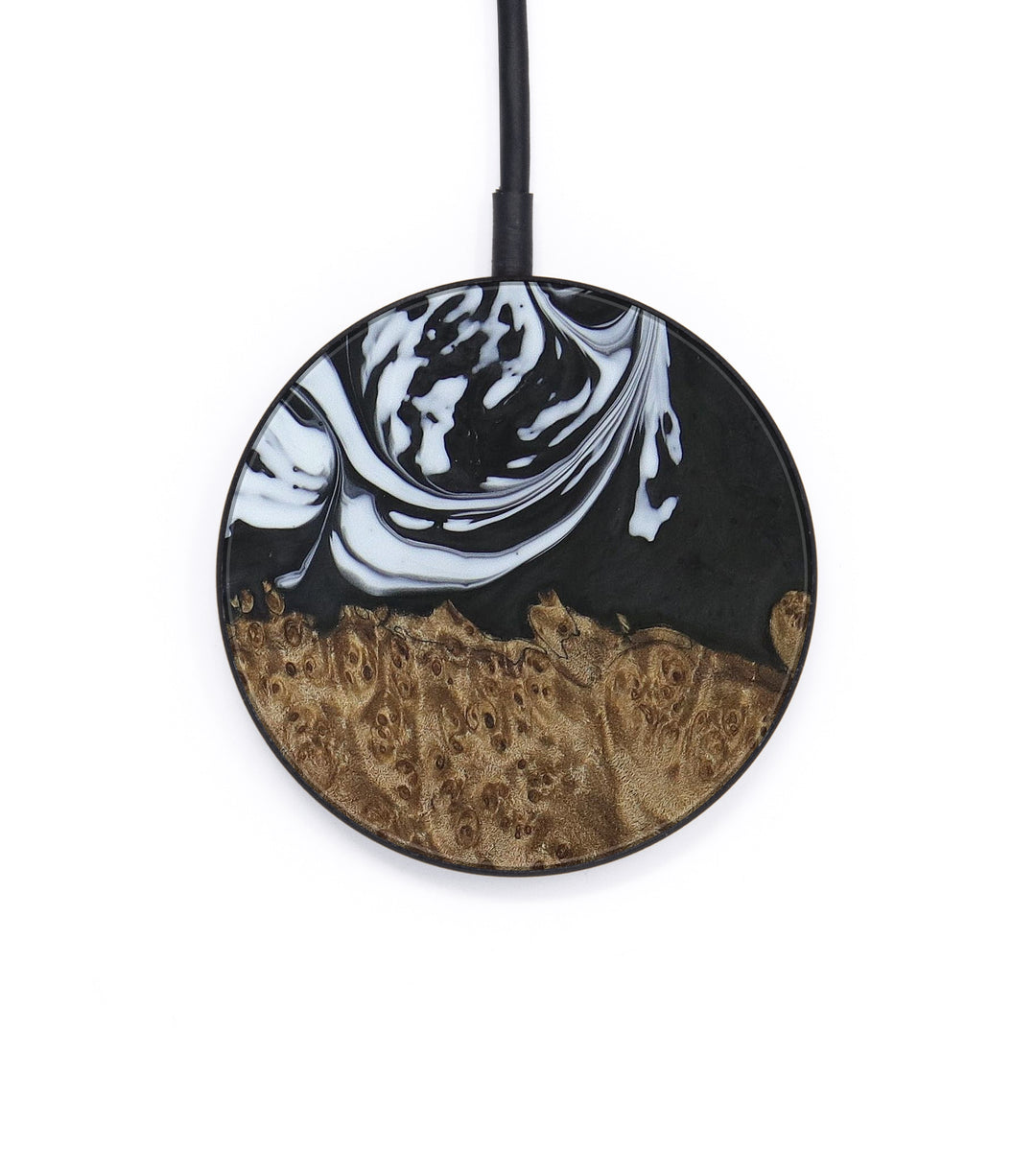 Circle Wood+Resin Wireless Charger - Ottcsr (Black & White, 405891)