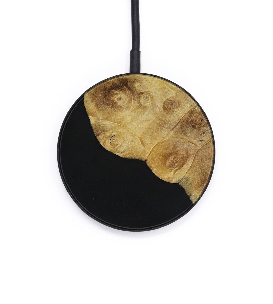 Circle Wood+Resin Wireless Charger - Andras (Pure Black, 399104)