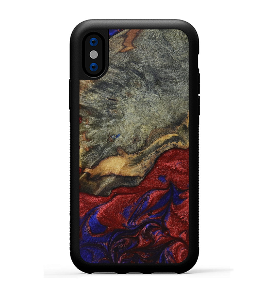 iPhone X Wood+Resin Phone Case - Tak (Blue & Red, 395959)