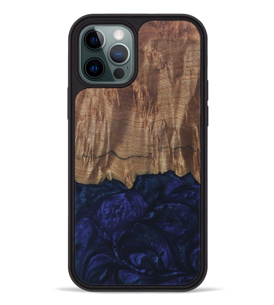 iPhone 12 Pro Wood+Resin Phone Case - Caitrin (Dark Blue, 399636)