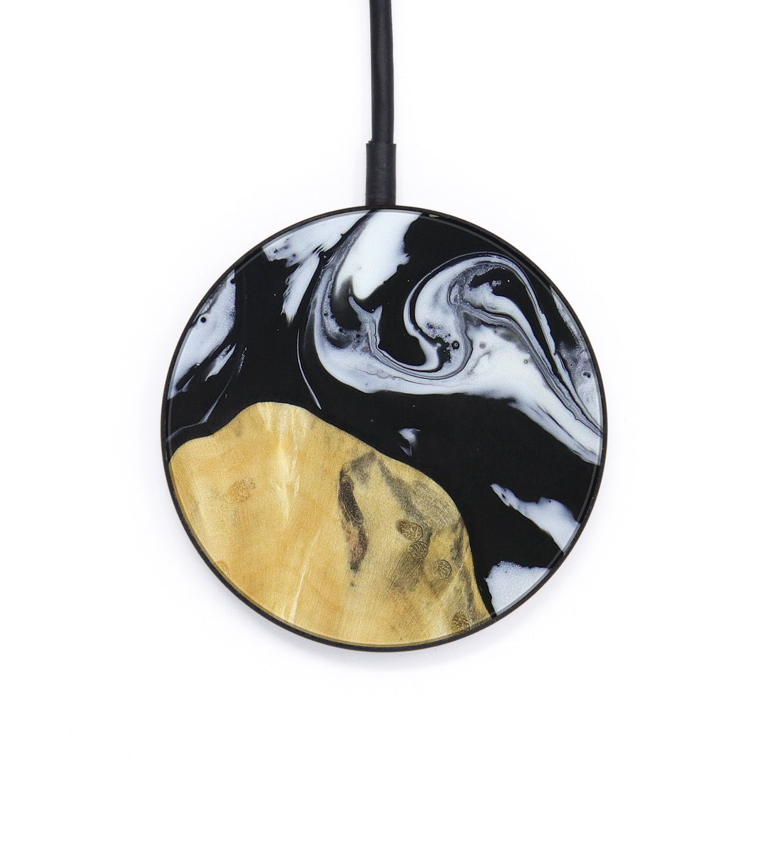 Circle Wood+Resin Wireless Charger - Weiping (Black & White, 403743)