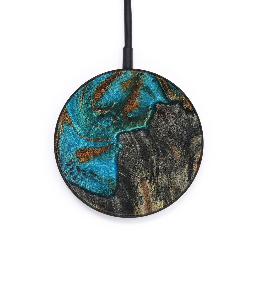 Circle Wood+Resin Wireless Charger - Lyndsay (Teal & Gold, 392878)
