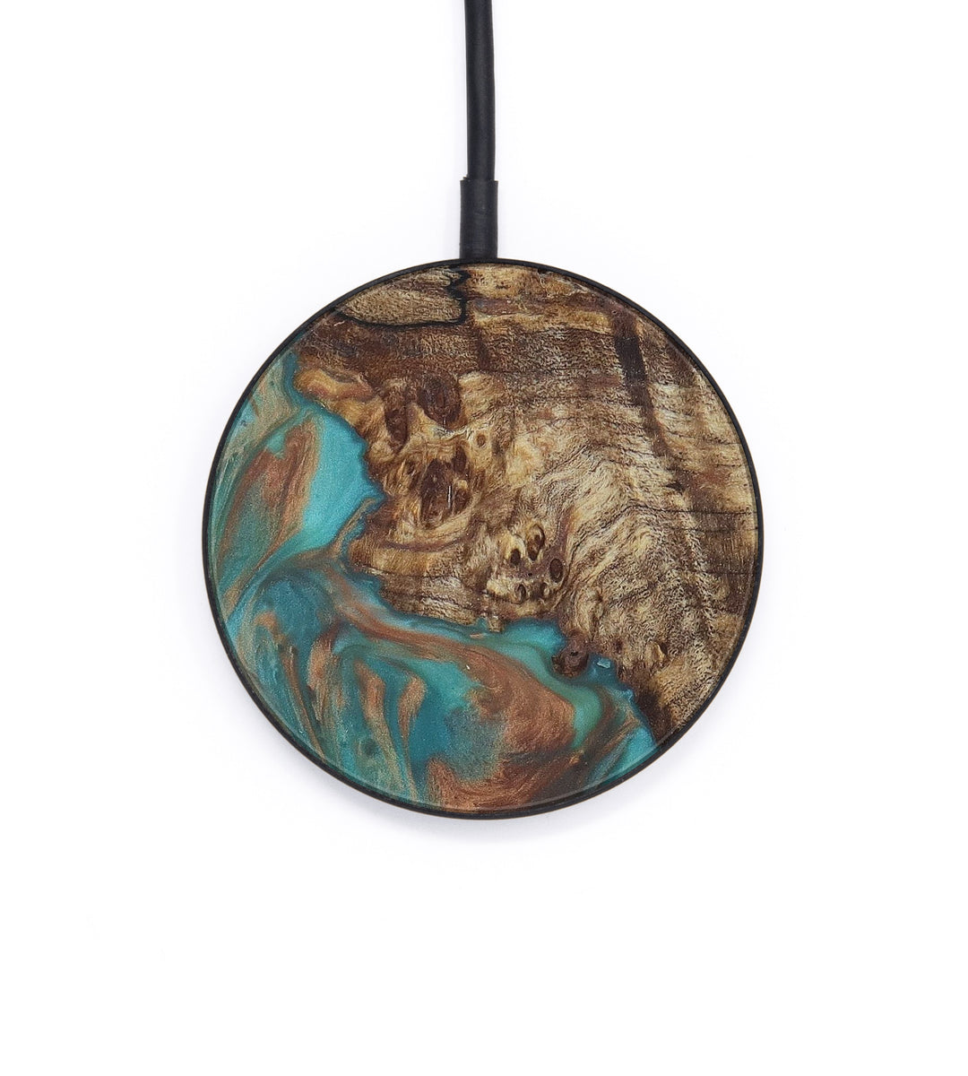 Circle Wood+Resin Wireless Charger - Mia (Teal & Gold, 408830)