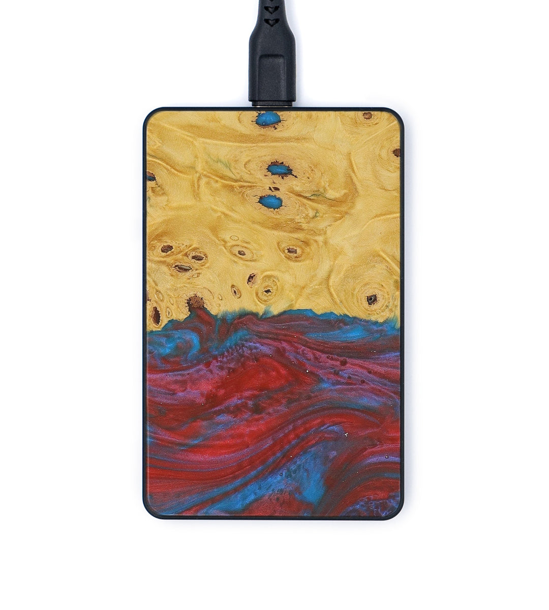 Thin Wood+Resin Wireless Charger - Lanny (Blue & Red, 362545)