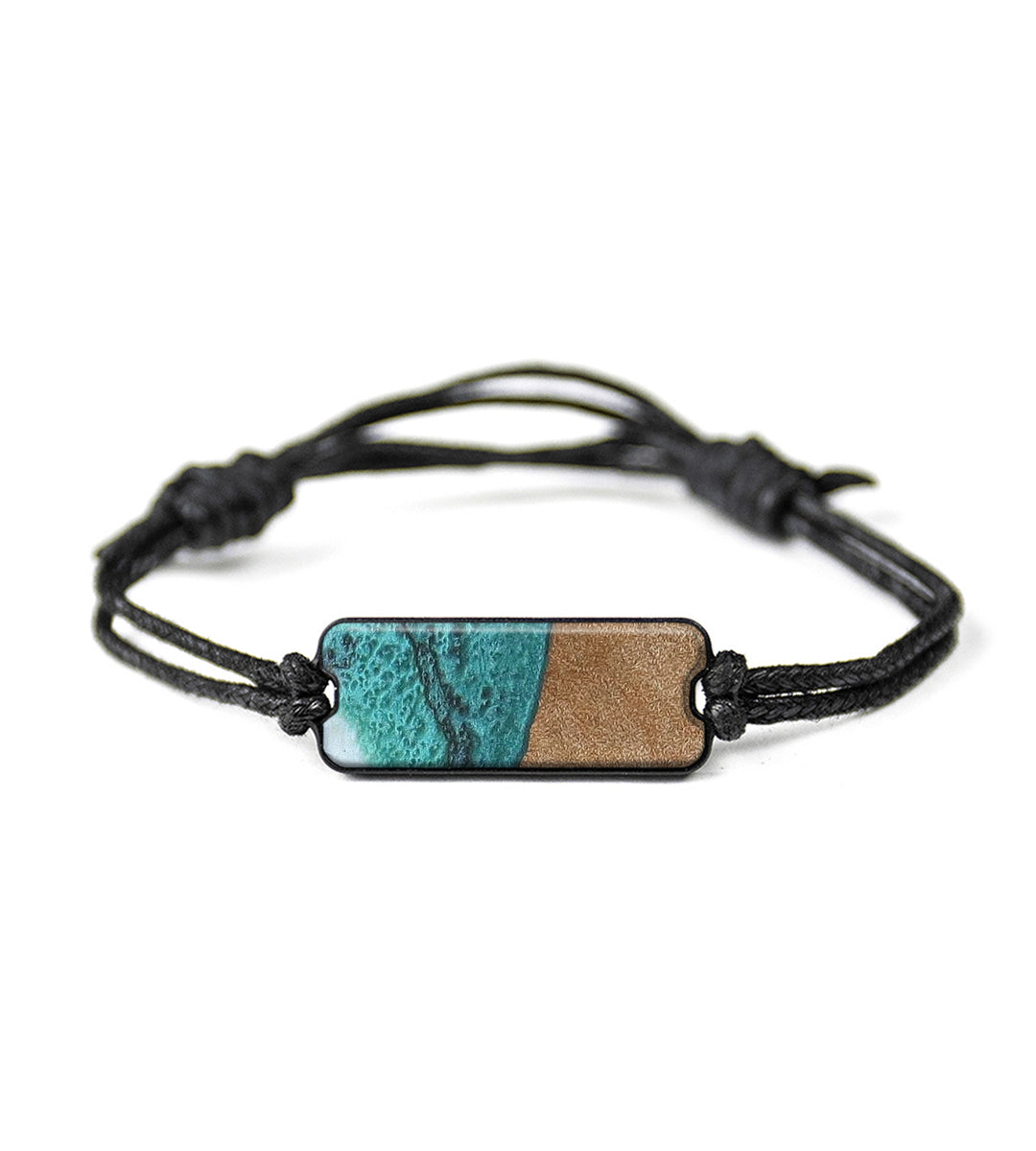 Classic Wood+Resin Bracelet - Aretha (Teal & Gold, 358123)