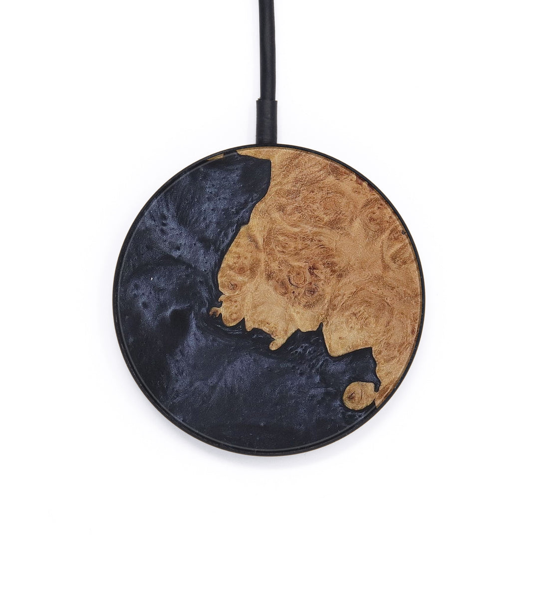 Circle Wood+Resin Wireless Charger - Candis (Pure Black, 409254)
