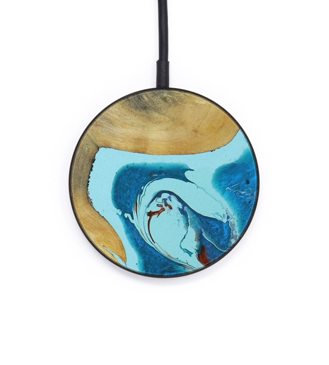 Circle Wood+Resin Wireless Charger - Elset (Teal & Gold, 406087)