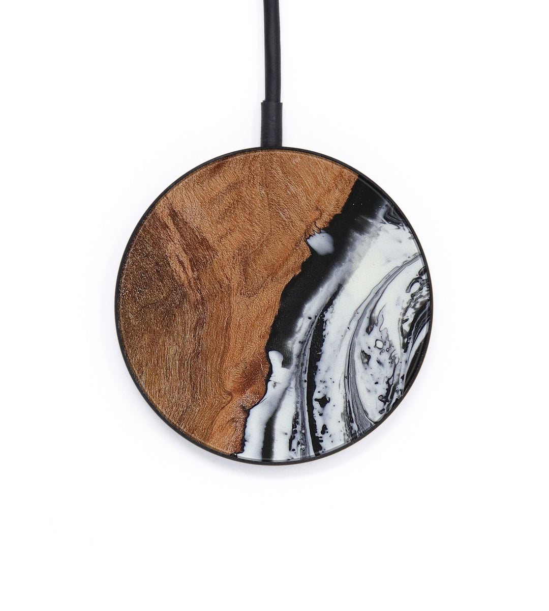 Circle Wood+Resin Wireless Charger - Eline (Black & White, 393447)