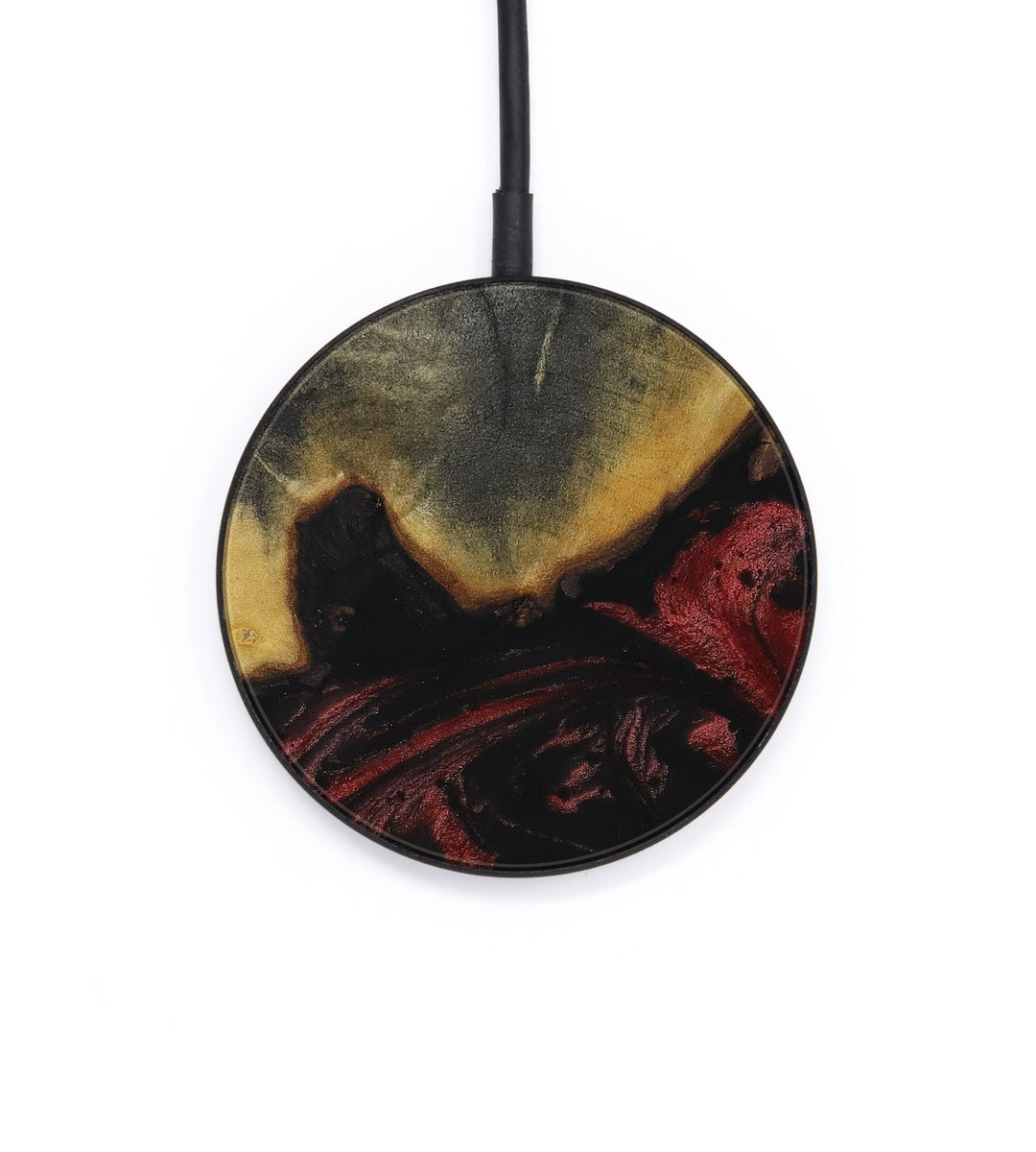 Circle Wood+Resin Wireless Charger - Klarrisa (Dark Red, 403805)