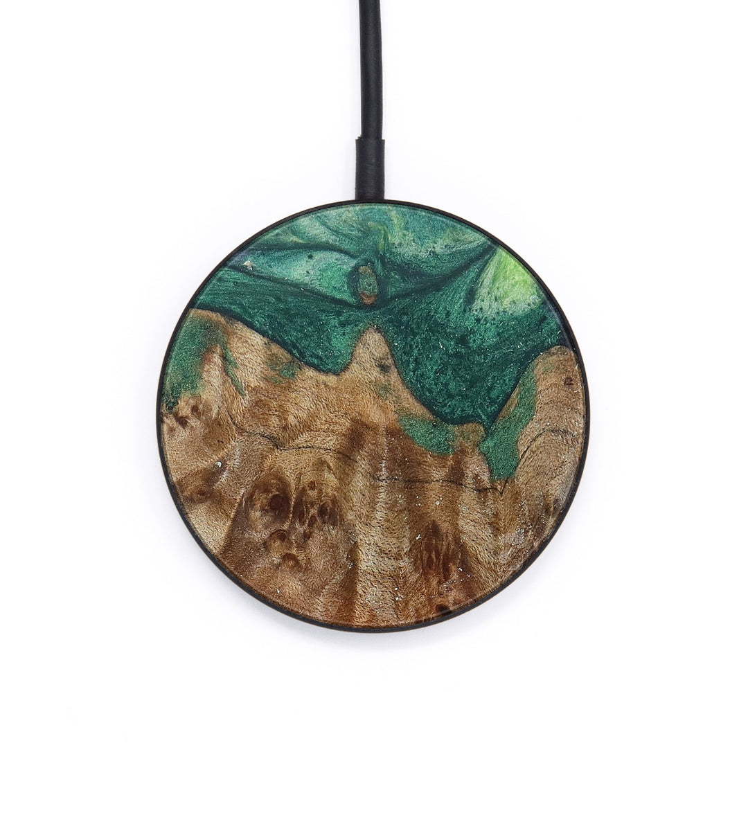 Circle Wood+Resin Wireless Charger - Clementine (Dark Green, 388297)