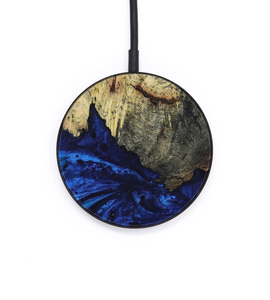 Circle Wood+Resin Wireless Charger - David (Dark Blue, 393403)