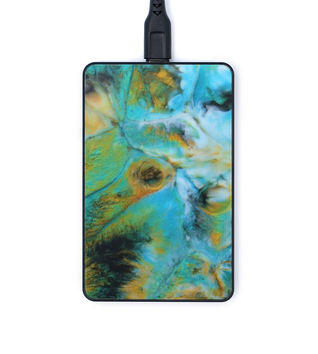 Thin ResinArt Wireless Charger - Janey (Teal & Gold, 347560)