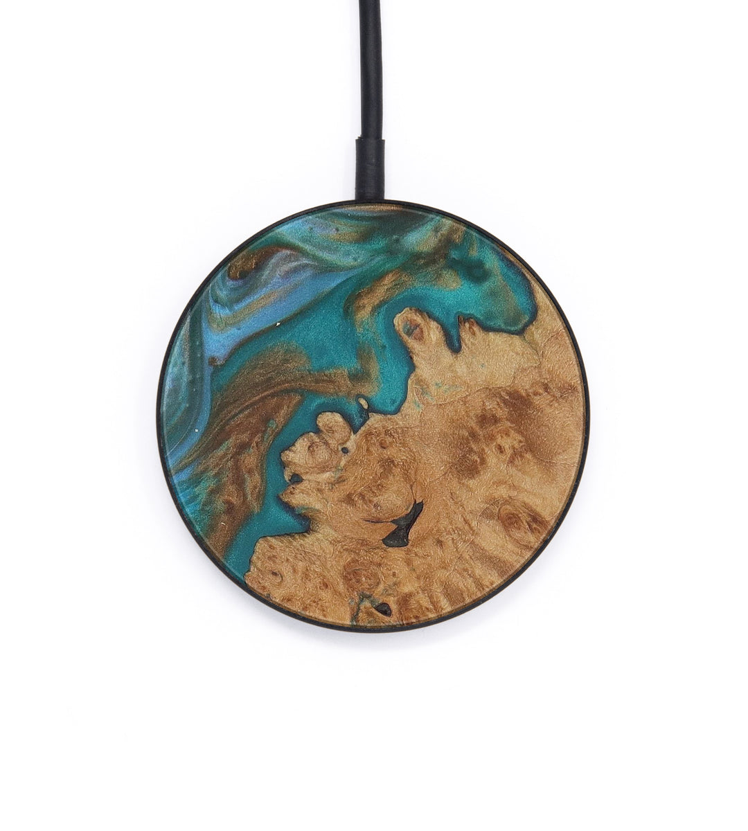 Circle Wood+Resin Wireless Charger - Quintilla (Teal & Gold, 408616)