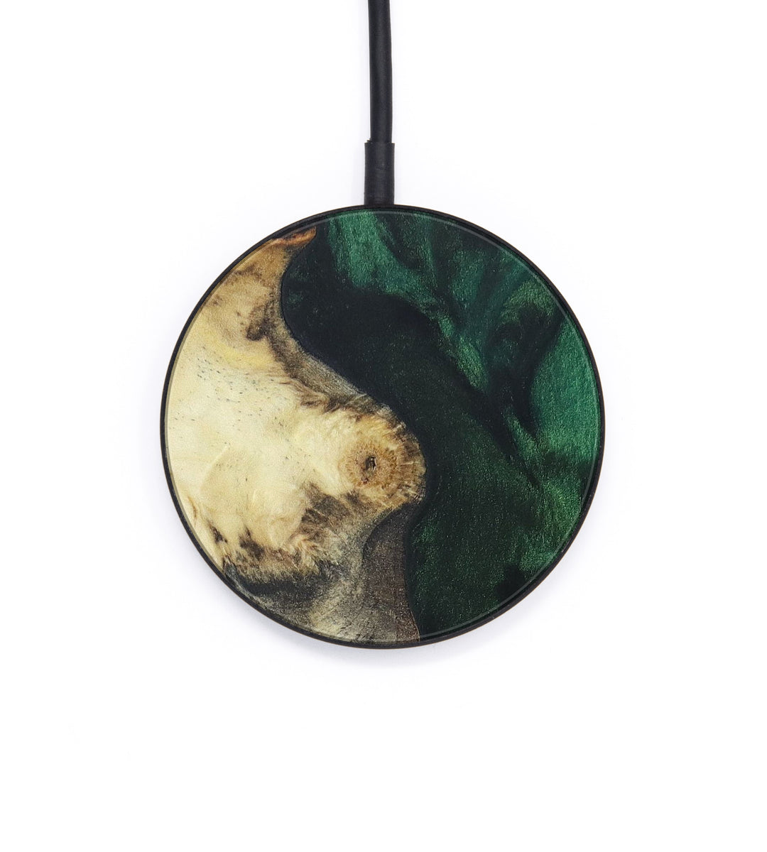 Circle Wood+Resin Wireless Charger - Lois (Dark Green, 406220)