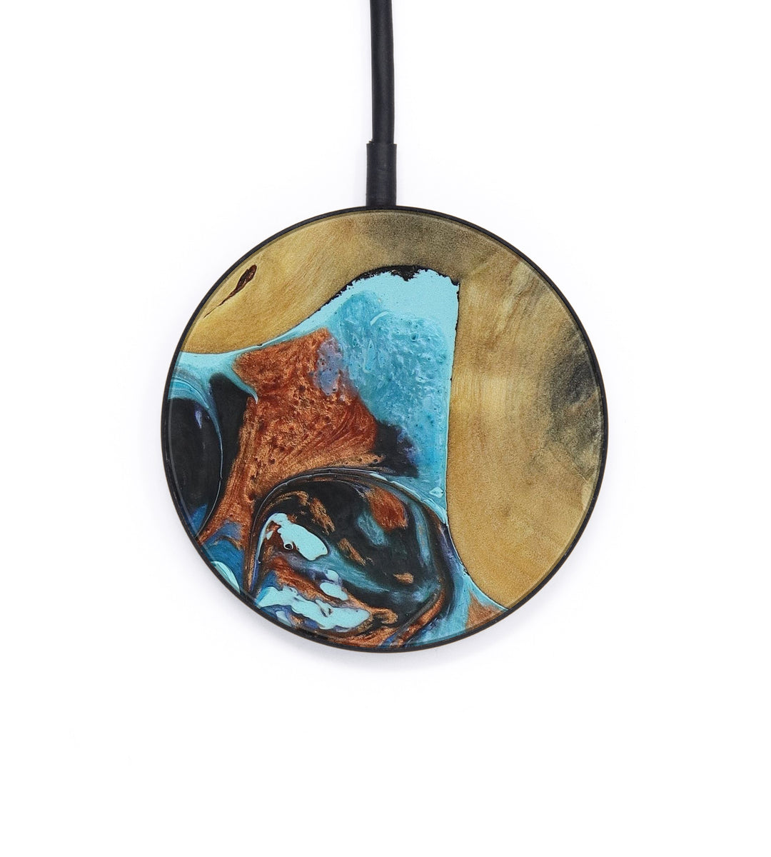 Circle Wood+Resin Wireless Charger - Ashlen (Teal & Gold, 406098)