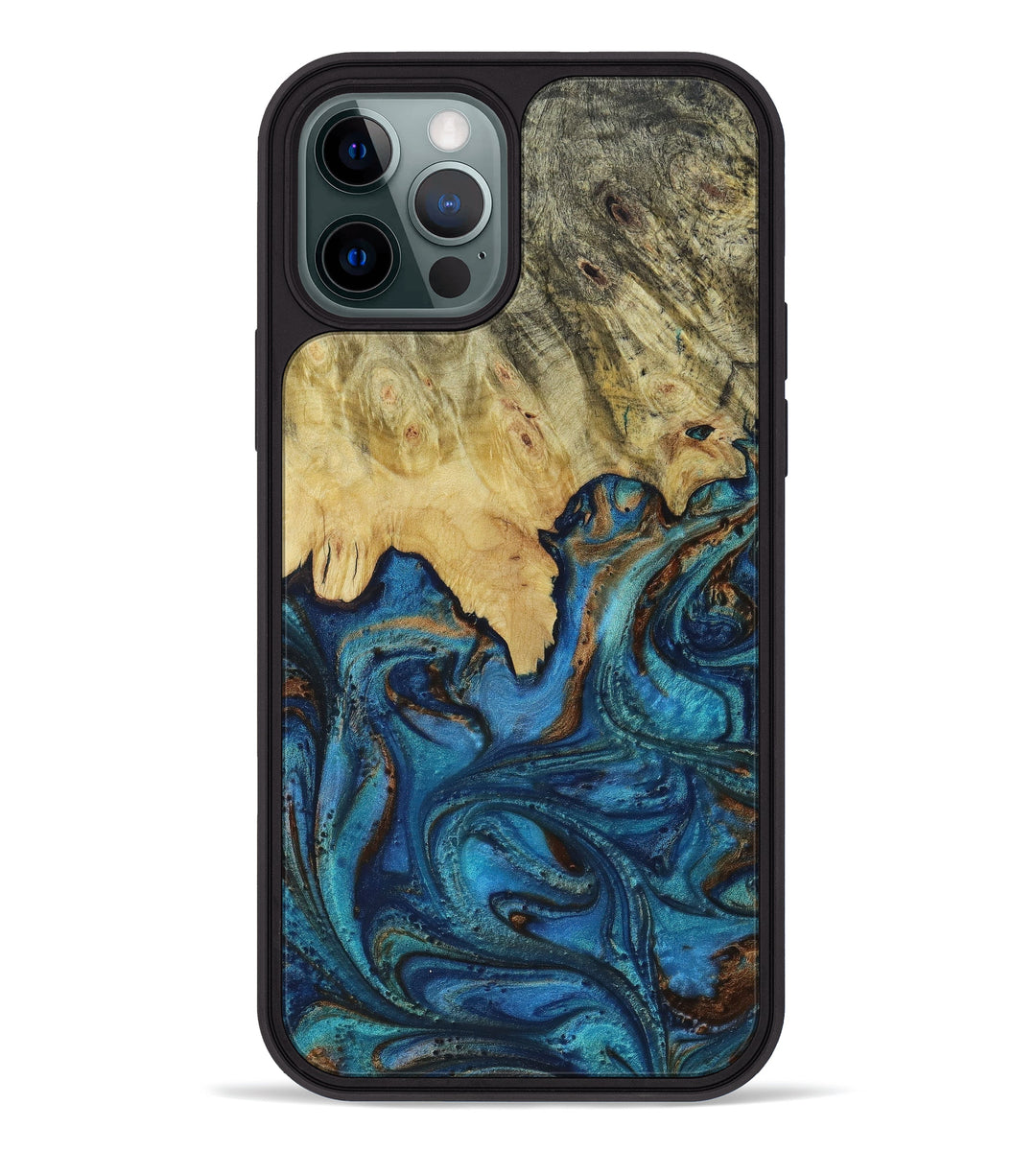iPhone 12 Pro Wood+Resin Phone Case - Sage (Teal & Gold, 396062)