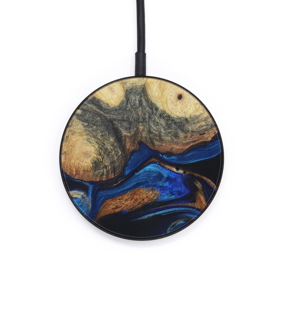 Circle Wood+Resin Wireless Charger - Apryle (Teal & Gold, 401146)