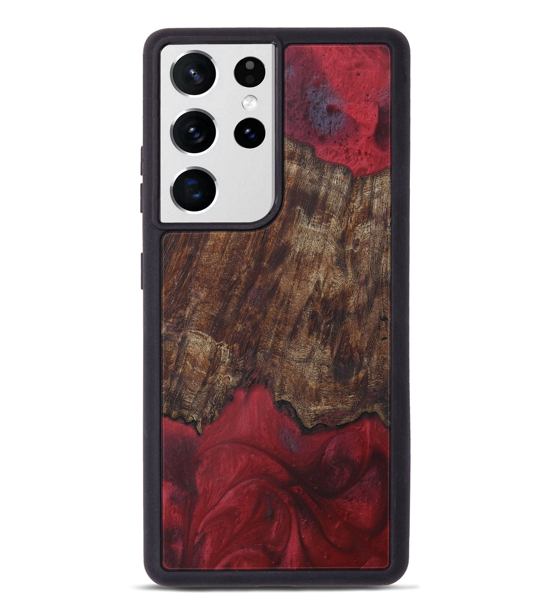 Galaxy S21 Ultra Wood+Resin Phone Case - Merrielle (Dark Red, 407780)