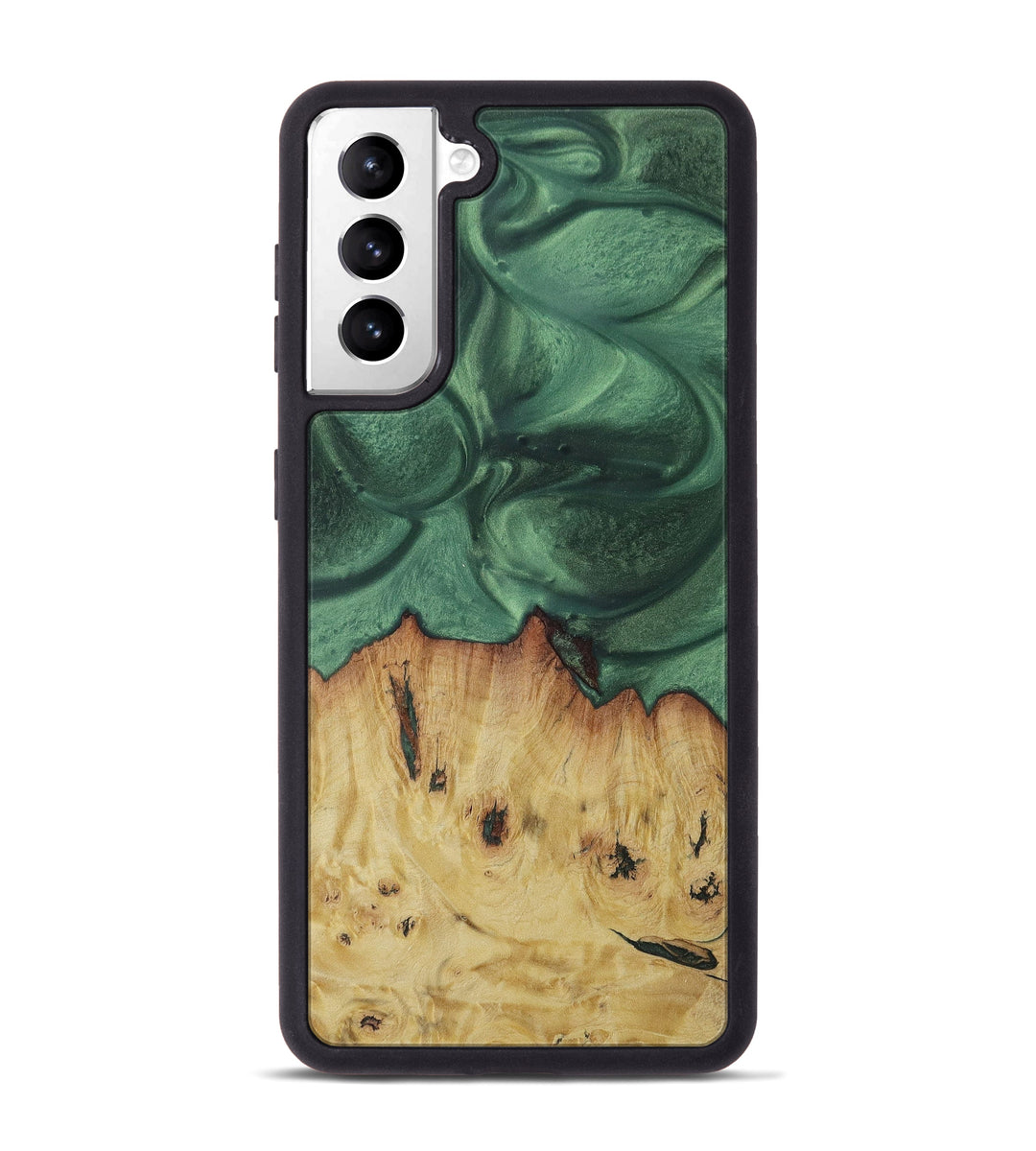 Galaxy S21 Wood+Resin Phone Case - Ebony (Dark Green, 427058)
