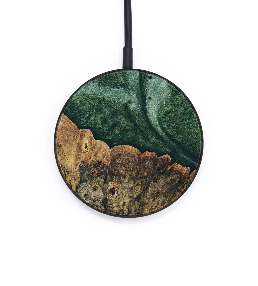 Circle Wood+Resin Wireless Charger - Martine (Dark Green, 402653)