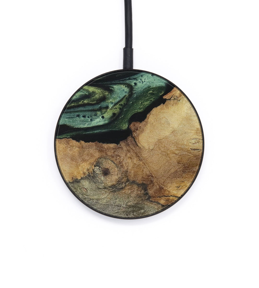 Circle Wood+Resin Wireless Charger - Dniren (Dark Green, 392841)