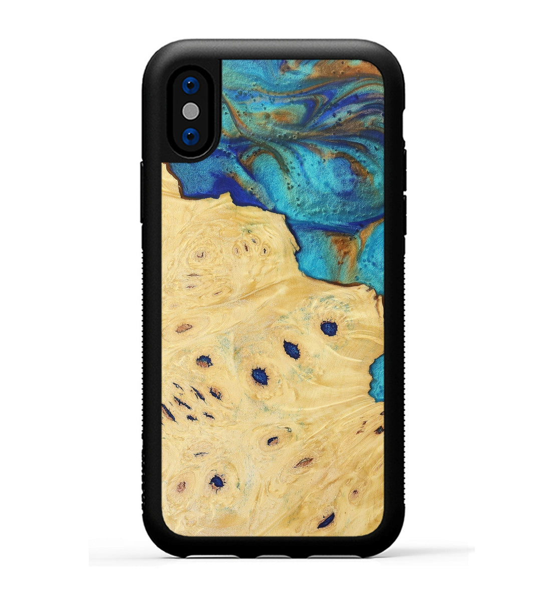 iPhone Xs Wood+Resin Phone Case - Bettye (Teal & Gold, 369979)
