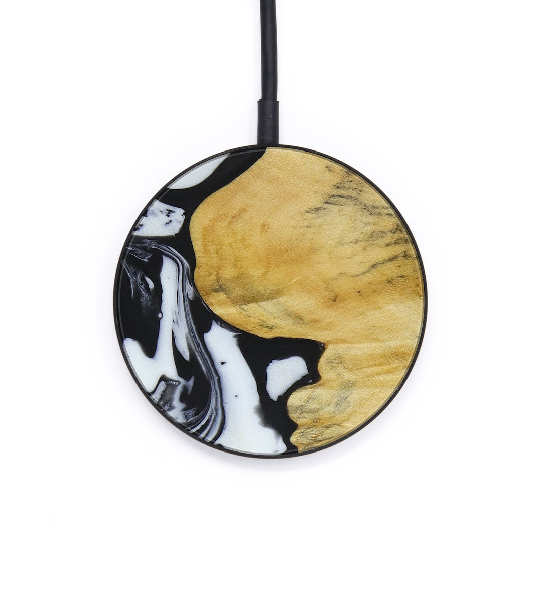Circle Wood+Resin Wireless Charger - Kwan (Black & White, 403902)