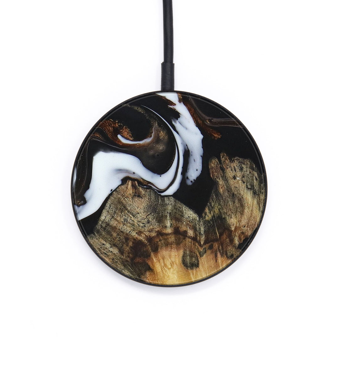 Circle Wood+Resin Wireless Charger - Beckie (Black & White, 391611)