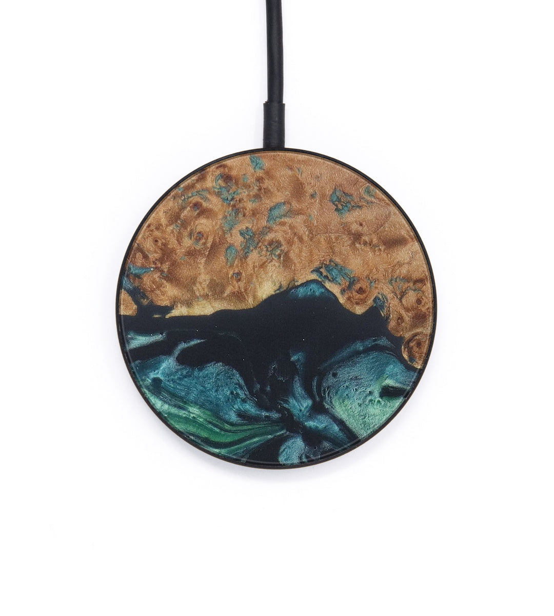 Circle Wood+Resin Wireless Charger - Starlin (Dark Green, 408512)