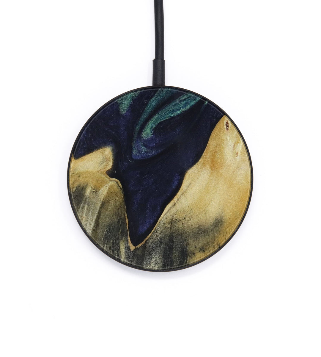 Circle Wood+Resin Wireless Charger - Noemi (Dark Blue, 404605)