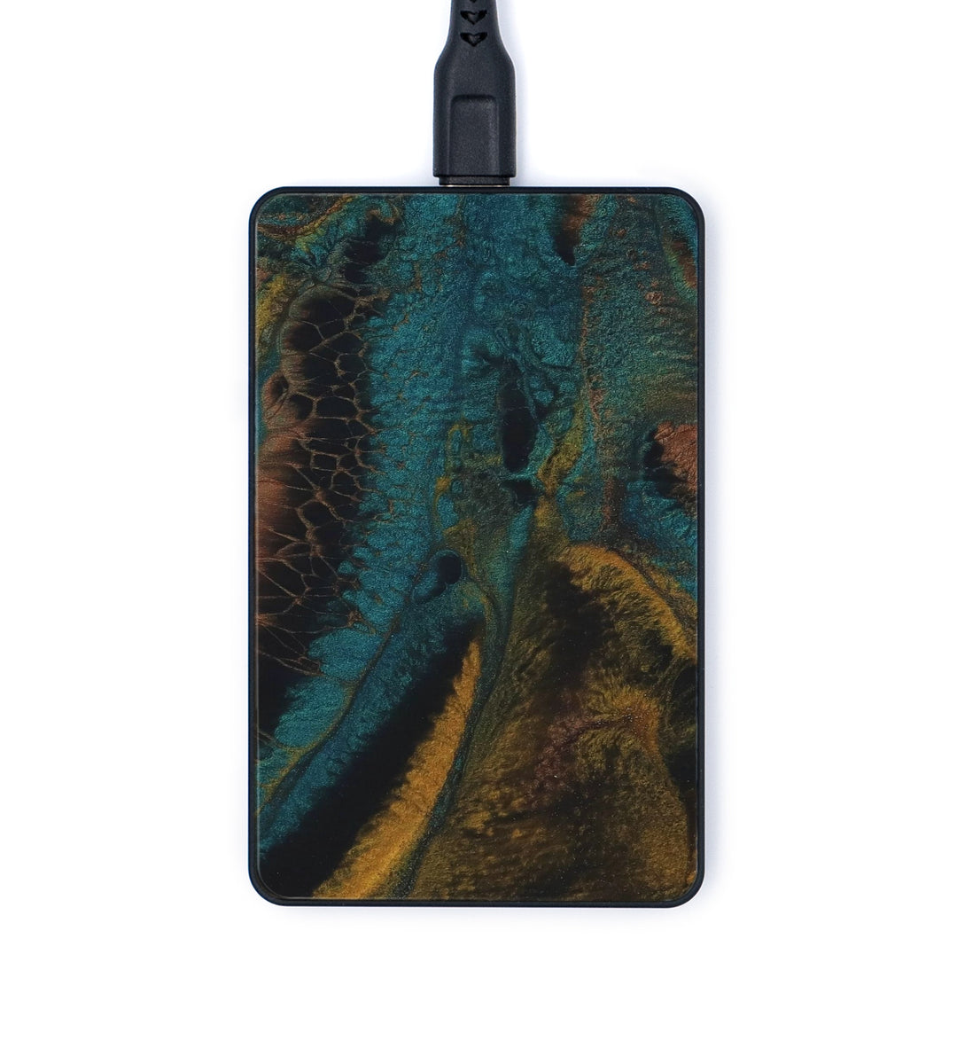 Thin ResinArt Wireless Charger - Jayendra (Teal & Gold, 347718)